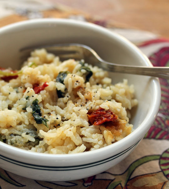 Spinach and kale risotto takes no time to make in the pressure cooker. #vegetarian #glutenfree