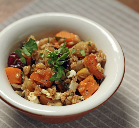 A great vegetarian main or side, farro with butternut squash, warm pears, dried cranberries and feta cheese.