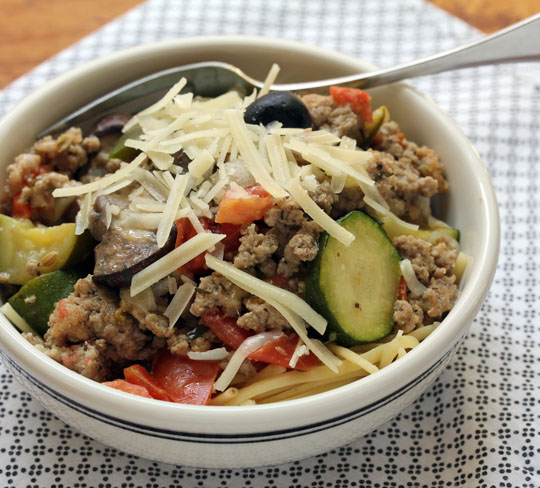 Try this turkey, sausage and vegetable sauce as a stuffing for zucchini or spaghetti squash boats.