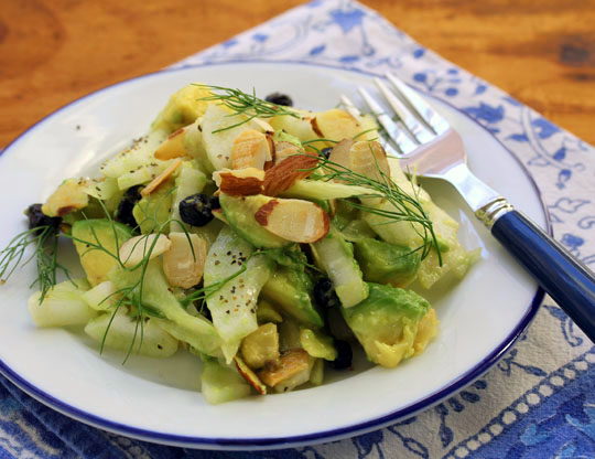 Yes, you can have great salads in winter! Try this fennel and avocado salad with wild blueberries and almonds.