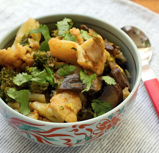 Red curry broccoli and cauliflower: quick and easy weeknight cooking.
