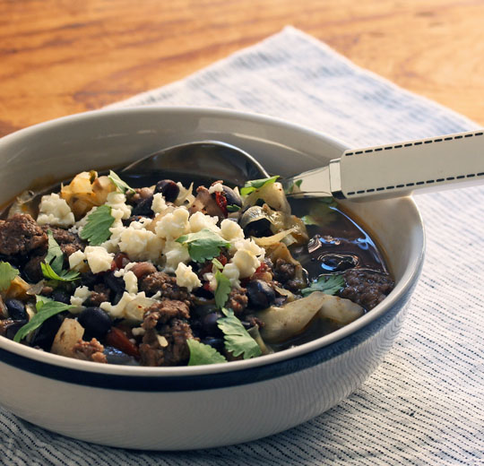 Hearty and healthy black bean, beef, and cabbage soup. [ThePerfectPantry.com]