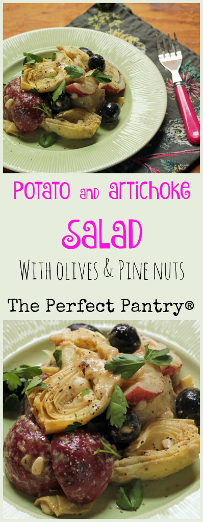 Potato and artichoke salad, unusual and delicious with almost anything you cook on the grill. #vegan #glutenfree