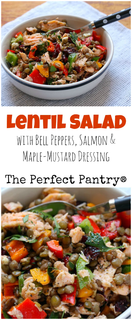 Lentil salad with colorful bell peppers, salmon (or chicken), and maple-mustard dressing: perfect for a potluck or picnic! #glutenfree [ThePerfectPantry.com]