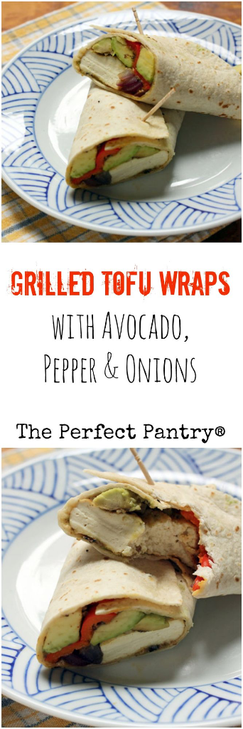 Grilled tofu wraps, stuffed with avocado, bell pepper, and onions: a perfect lunch. #vegan