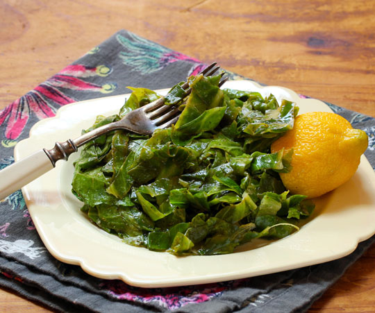 Garden-fresh collard greens, quickly sautéed with lemon and olive oil.