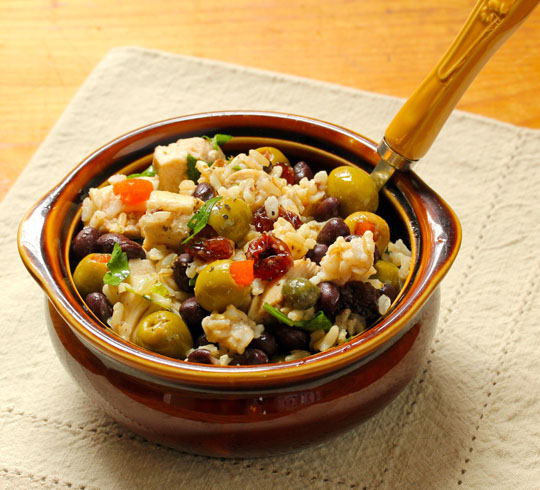This black bean and rice and chicken salad brings a bit of festive to any picnic or potluck!