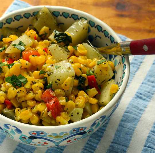 Frozen corn makes this corn and chayote squash combo a year-round salad.