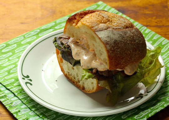 Grill your favorite cut of steak (I love flank steak) to make this sandwich.