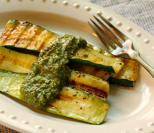Mint walnut pesto makes a great topping for grilled zucchini, or pasta, or slathered on a sandwich.