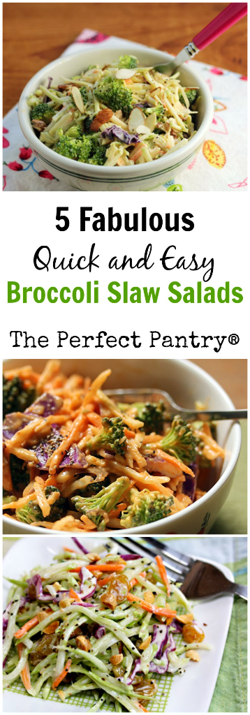 Start with store-bought broccoli slaw, and create five fabulous salads!