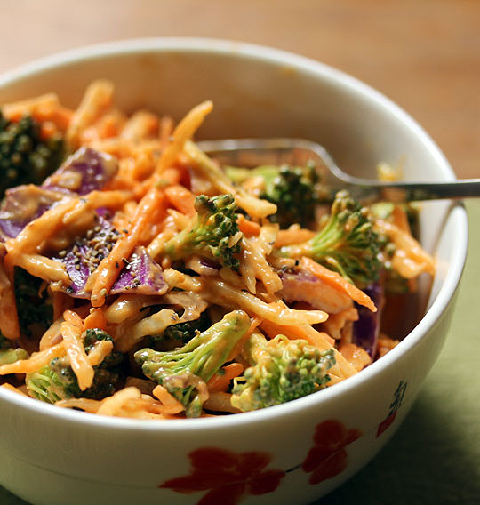 Broccoli slaw salad with peanut-mango-Sriracha dressing.