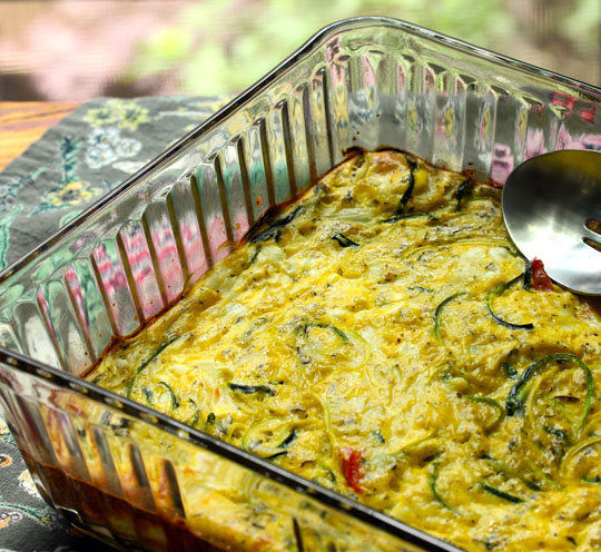 Spiralized zucchini gives your breakfast casserole a whole different flavor.