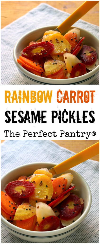 If you can find these beautiful rainbow carrots at the farmers market (or supermarket), make quick and easy pickles!