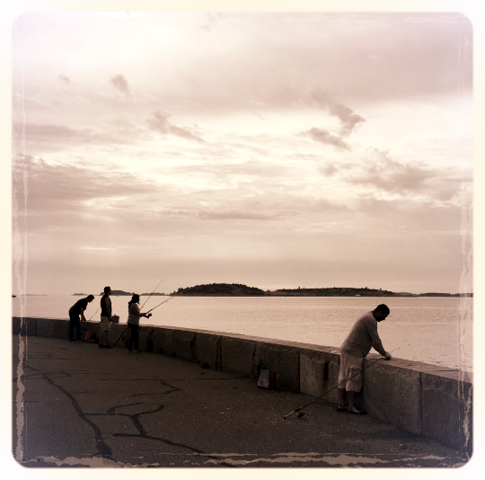 Fishing along Pleasure Bay, South Boston.