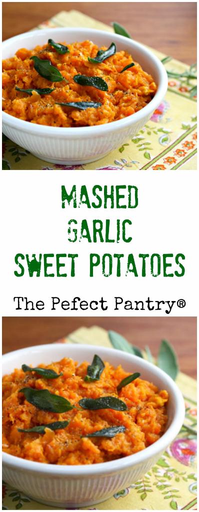 Mashed garlic sweet potatoes liven up any holiday menu.