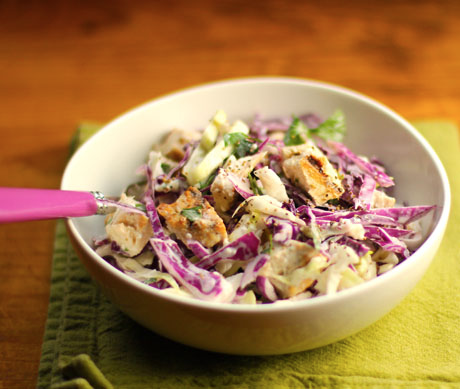 Chicken and red cabbage salad with buttermilk blue cheese dressing is a full meal in a bowl.