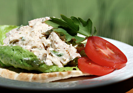 Picnic-perfect chicken salad with a tangy mustard sauce and lovage (or celery) leaves. We don't often use the leaves, but they are delicious!