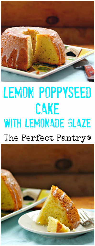 Lemon poppyseed cake made in a Bundt pan, and glazed with a lemonade mix. What's not to love?