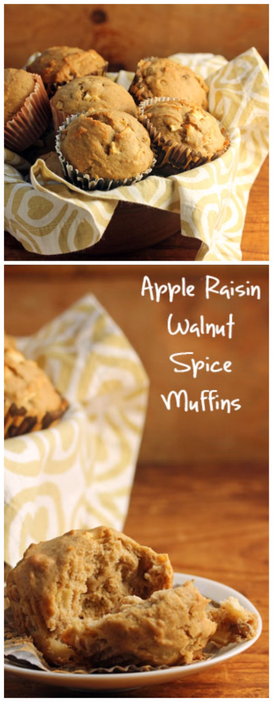 Apple raisin walnut spice mini-muffins are equally good with afternoon tea or on a holiday table.