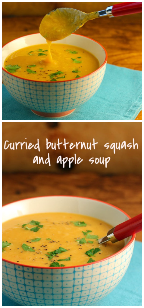 Butternut squash and apple soup, with a bit of Thai curry paste for a kick.