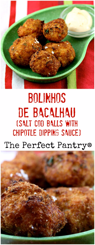 Bolinhos de bacalhau (salt cod balls) with a chipotle dipping sauce: a popular Brazilian bar food that's perfect for game day parties.
