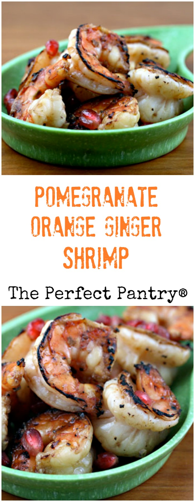Pomegranate-orange-ginger shrimp: a sweet and delicious appetizer for your next party, and it starts with pomegranate juice from the grocery store.