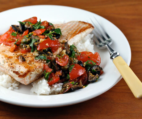 Tomato-caper relish tops salmon, or any white fish like halibut or swordfish.