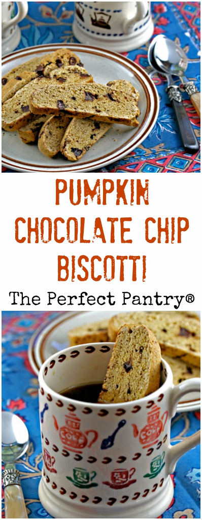 Pumpkin chocolate chip biscotti cookies, for your seasonal dunking pleasure!