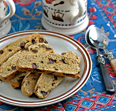Pumpkin chocolate chip biscotti cookies would be perfect for afternoon tea.