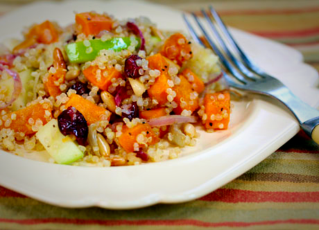 Flavors of Fall! Quinoa salad with sweet potatoes and apples. #vegan