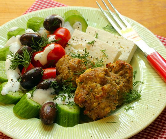 Ted's lemon-dill turkey meatballs, delicious in a salad, or over pasta with lemon cream sauce. Yum!