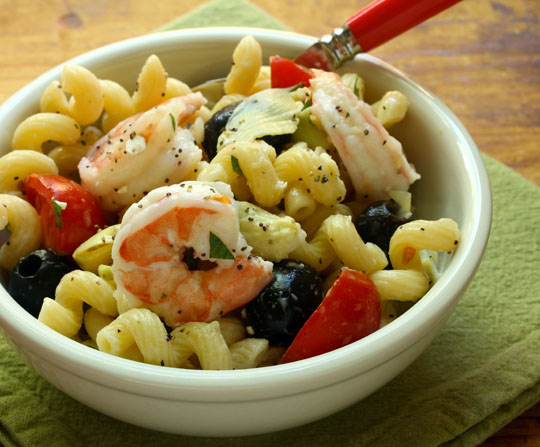 Shrimp and artichoke pasta salad with a light lemon poppy seed dressing, great for a quick weeknight supper.