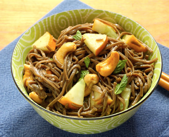 Soba (buckwheat) noodles with cucumber get a flavor boost from lemon and mint. Add cashews or peanuts for crunch. #vegan