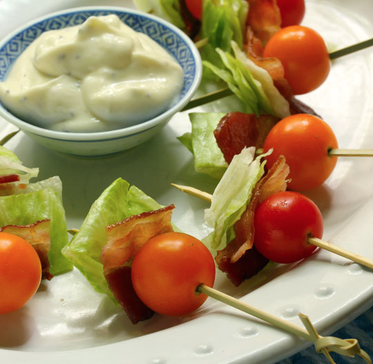 BLT appetizer skewers with wasabi dipping sauce will be the hit of your next party (and they're super-easy to make).