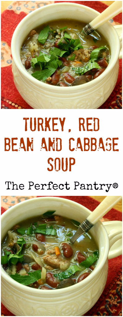 Turkey, red bean and cabbage soup, perfect for your next Soup Swap. #glutenfree