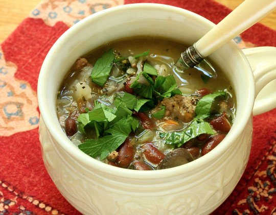 Make this turkey, red bean and cabbage soup ahead, and freeze it for your next soup swap. #glutenfree