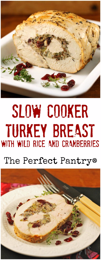 Slow cooker turkey breast, stuffed with wild rice and dried cranberries, makes a beautiful presentation on the holiday table. #glutenfree