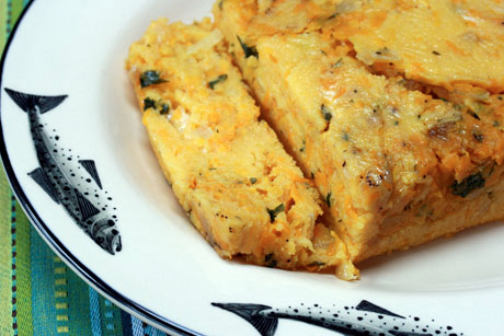 Polenta, squash and cheese loaf: cut into squares for a great holiday side dish.