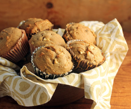 Apple raisin walnut spice mini muffins, perfect for the holiday table.