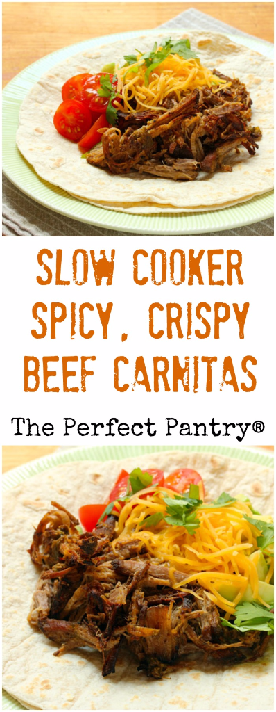 Slow cooker spicy, crispy, shredded beef carnitas you can make at home.