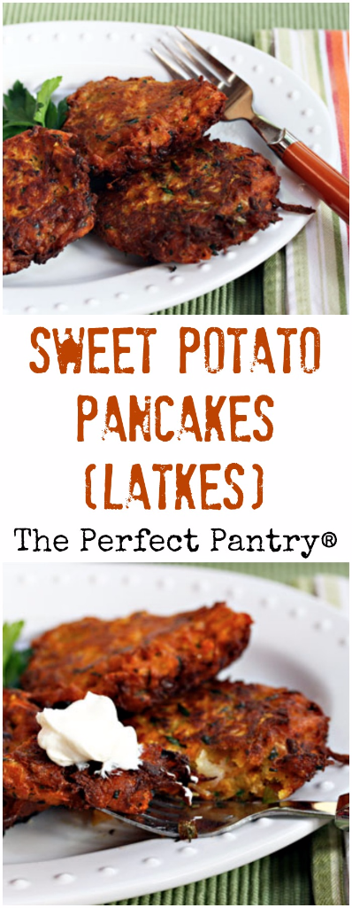 Sweet potato latkes (pancakes) are a year-round #vegetarian treat. Make them tiny to serve as appetizers!