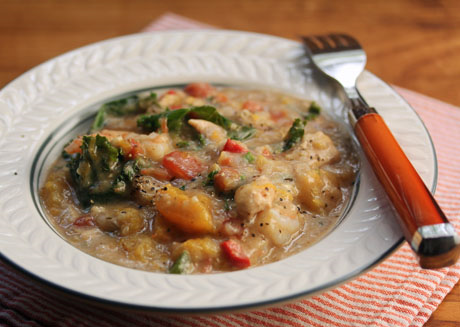 Caribbean pepper pot, made with squash, kale, chicken and shrimp. And peppers!