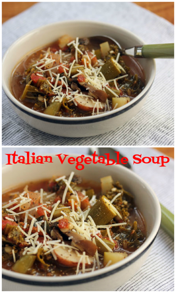 Italian vegetable soup, with garden veggies, couscous and cheese.