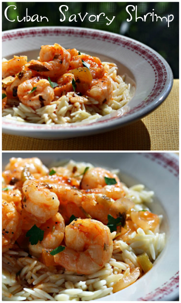 Cuban savory shrimp, served over orzo or rice. #glutenfree