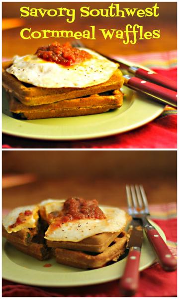 Southwest cornmeal waffles, crunchy on the outside.