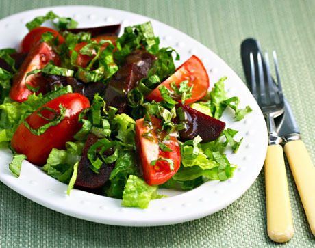Tomatoes, beets, basil, balsamic vinaigrette: so good together. #vegan #glutenfree