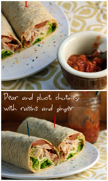 Pear and pluot (or plum) chutney spices up a turkey and cheese roll-up.