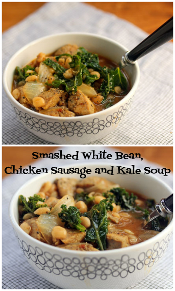 Hearty white bean, sausage and kale soup, for colder nights ahead.