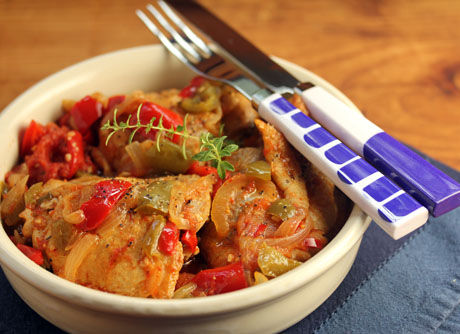 Basque chicken baked with bell peppers and tomato. #glutenfree